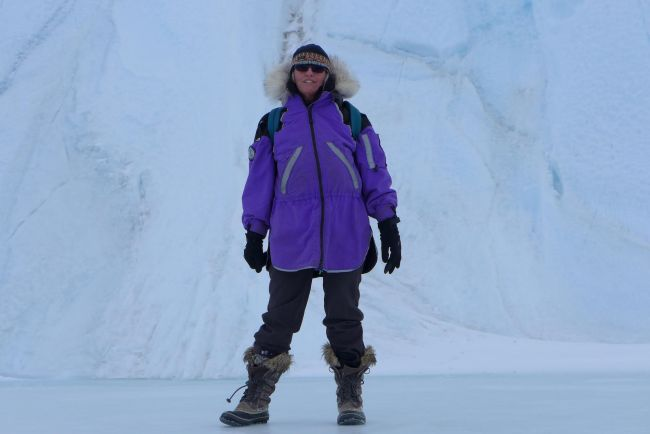 Robin Bell mugs for the camera in Antarctica, where she does most of her research.