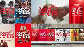 A collection of images of the new Coca-Cola logo.