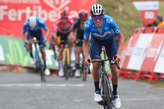 Team Movistar rider Spains Enric Mas crosses the finish line of the 3rd stage of the 2021La Vuelta cycling tour of Spain a 2028km race from Santo Domingo de Silos to Espinosa de los Monteros on August 16 2021 Photo by ANDER GILLENEA AFP Photo by ANDER GILLENEAAFP via Getty Images