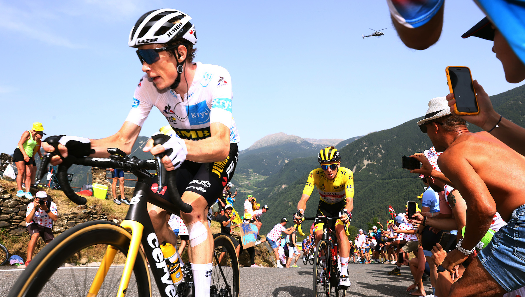 Jonas Vingegaard on the attack in the 2021 Tour de France