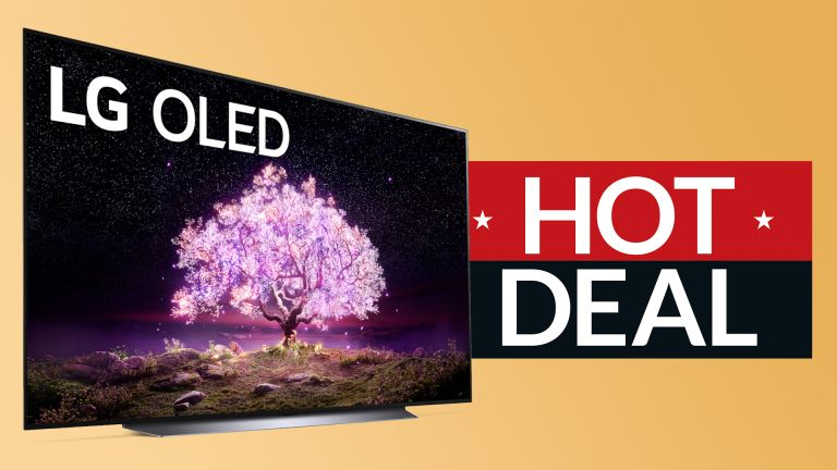 LG C1 deal, TV on yellow background with sign saying Hot Deal