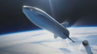 An artist's illustration of SpaceX's Starship spacecraft separating from its Super Heavy rocket.