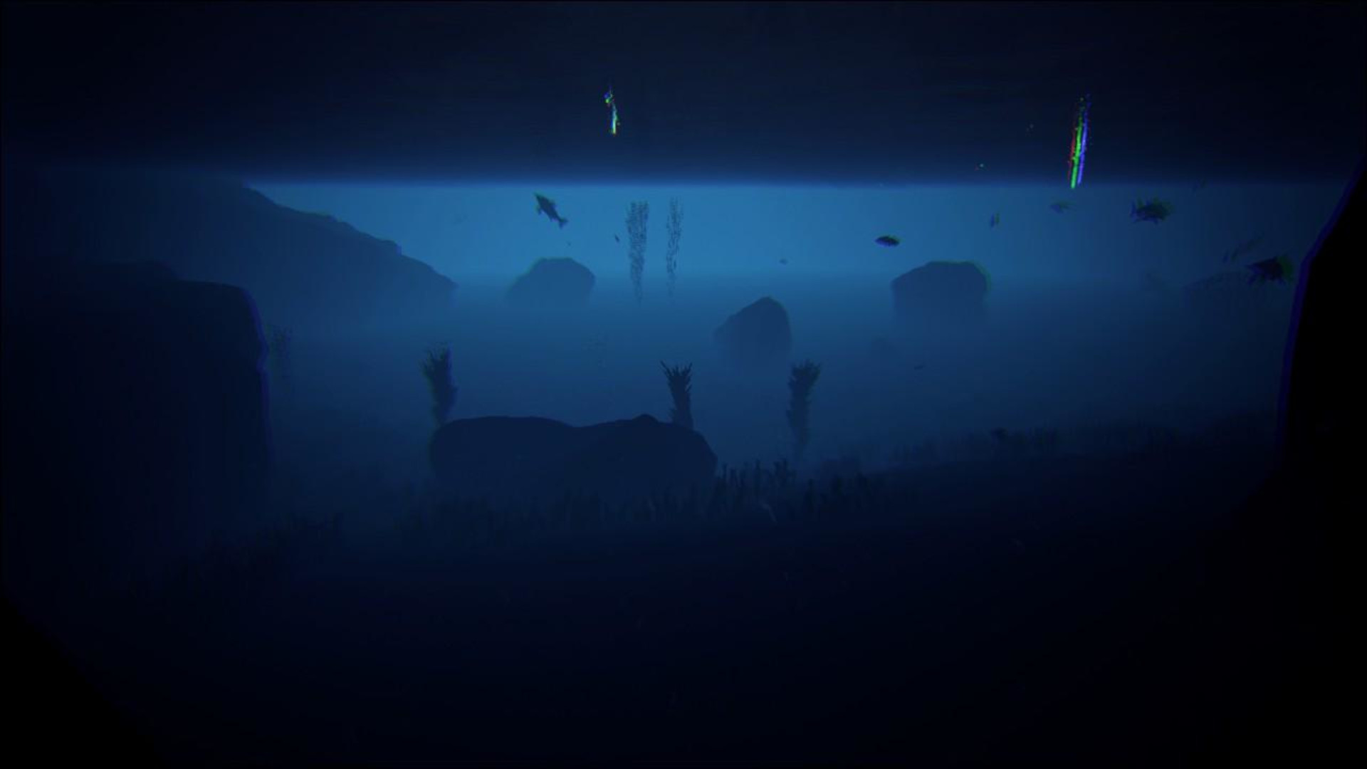 The gloomy ocean full of creatures in Ark: Survival Evolved