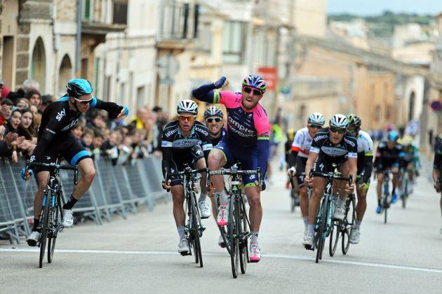 Sacha Modolo (Lampre Merida) wins the 2014 Trofeo Ses Selines from Ben Swift (Team Sky) and Gianni Meersman (Omega Pharma-QuickStep)