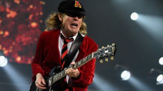 Guitarist Angus Young performs onstage during the AC/DC Rock Or Bust Tour at Madison Square Garden on September 14, 2016 in New York City.