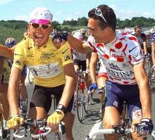 1997 Tour winner Jan Ullrich with best climber Richard Virenque