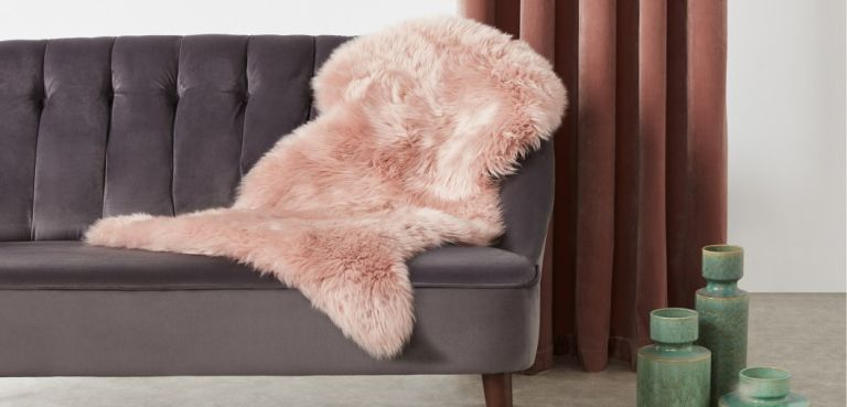Made.com rugs: Helgar Sheepskin rug blush pink