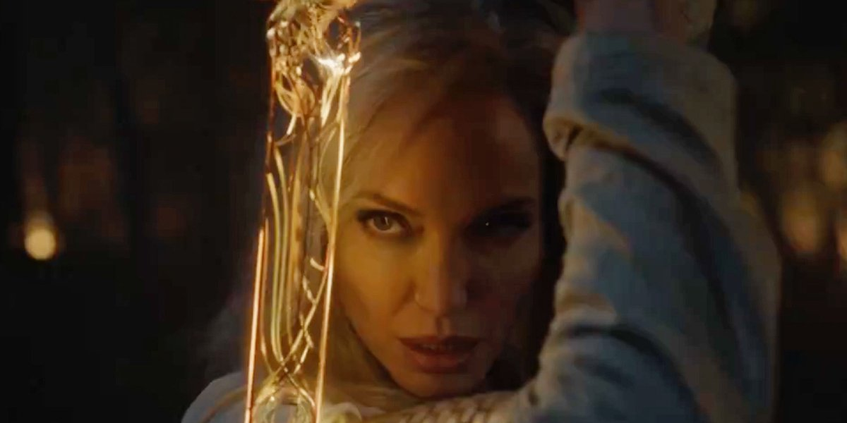Angelina Jolie poses with a sword in Eternals.