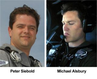 Scaled Composites test pilots Peter Siebold and Michael Alsbury were aboard Virgin Galactic's SpaceShipTwo during its failed powered test flight on Oct. 31, 2014 over California's Mojave Desert. Alsbury was co-pilot of SpaceShipTwo and died in the crash.