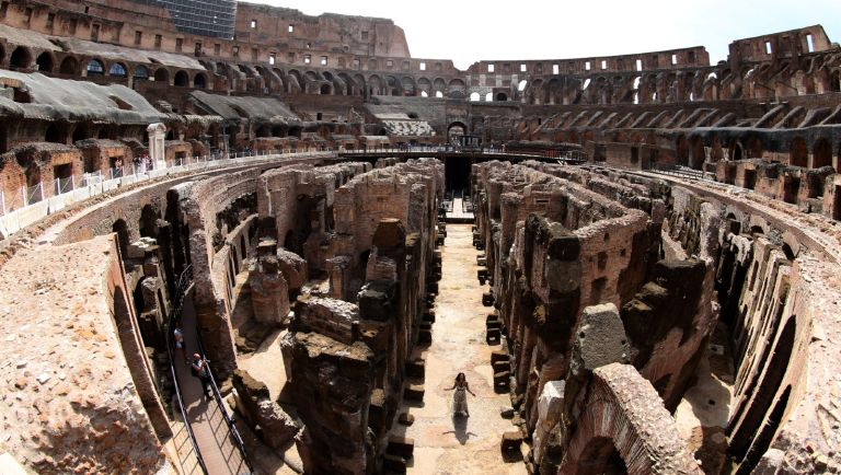 A view of the Colosseum and the hypogea during the press conference for Tod's second phase of the restoration of the Flavian Amphitheater and the opening of the hypogea on June 25, 2021 in Rome, Italy.