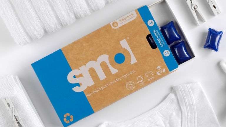 Household subscription services: Smol blue washing tablets flatlay