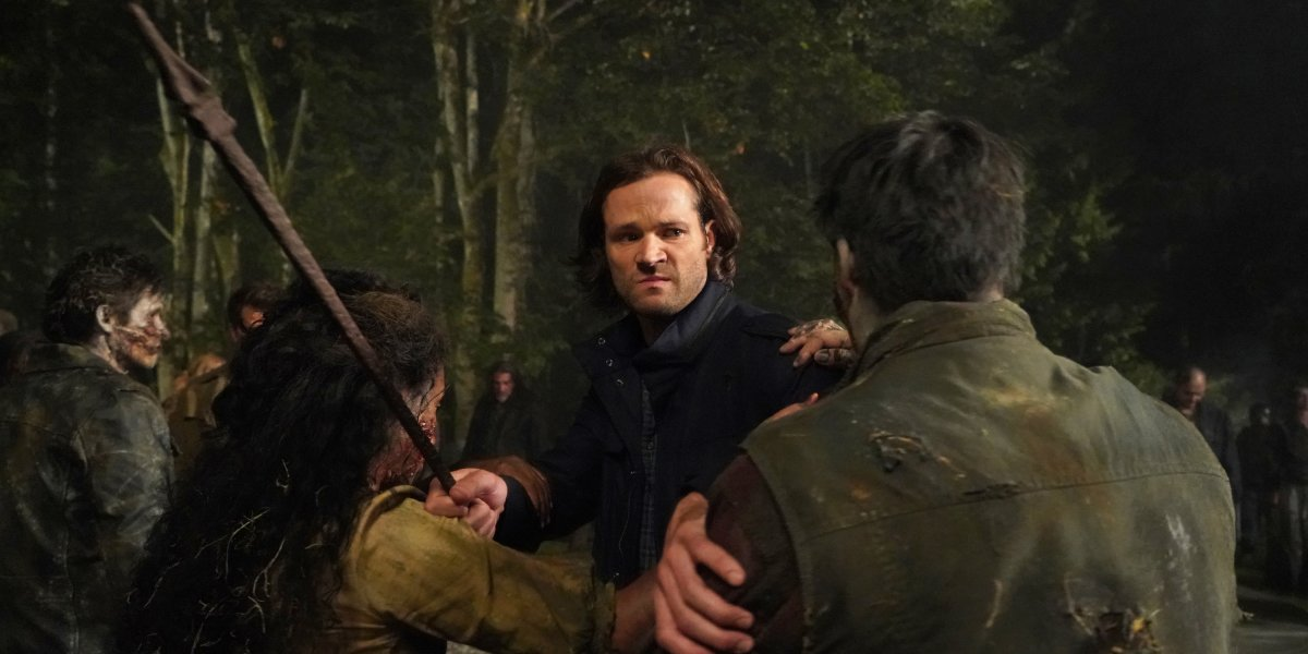 supernatural sam fighting zombies season 15 the cw