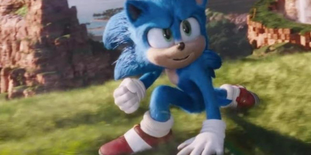 Sonic in his trademark red and white shoes