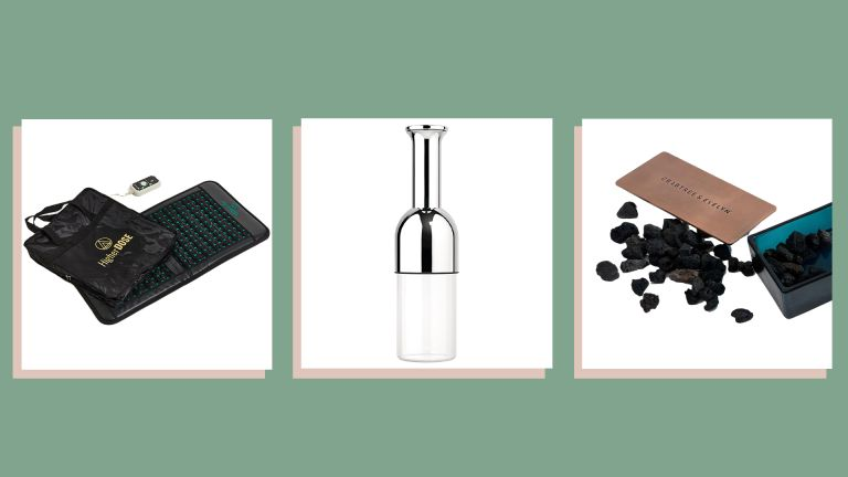 three of w&h's picks for unique Christmas gifts—HigherDOSE Infrared PEMF Go Mat, eto wine decanter and Crabtree & Evelyn Raw Instinct Rock Diffuser set—on a green background