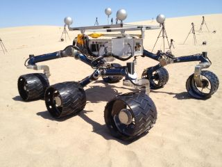 Mockup of Curiosity Mars rover in Death Valley in May 2012