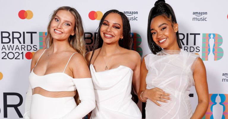 Perrie Edwards, Jade Thirlwall and Leigh-Anne Pinnock of Little Mix pose in the media room during The BRIT Awards 2021