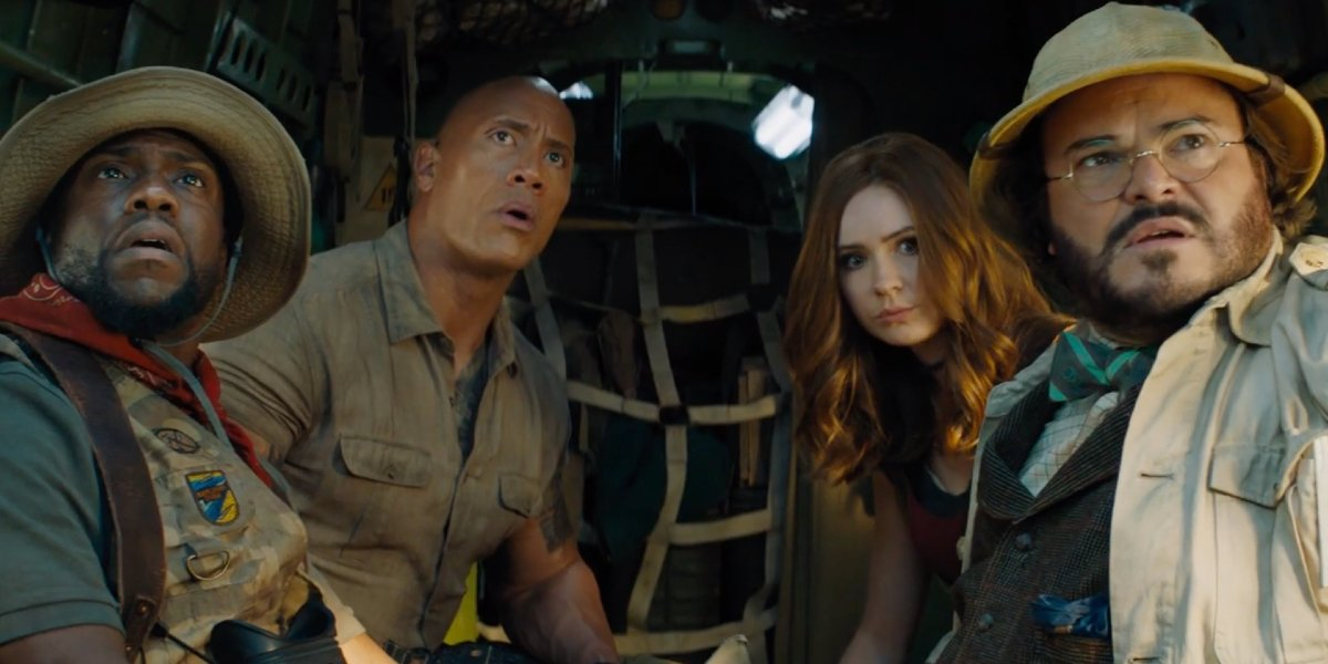 Jumanji: The Next Level the players looking up at something off camera