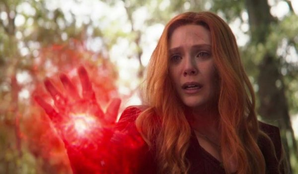 Avengers: Infinity War Scarlet Witch crying as she uses her powers