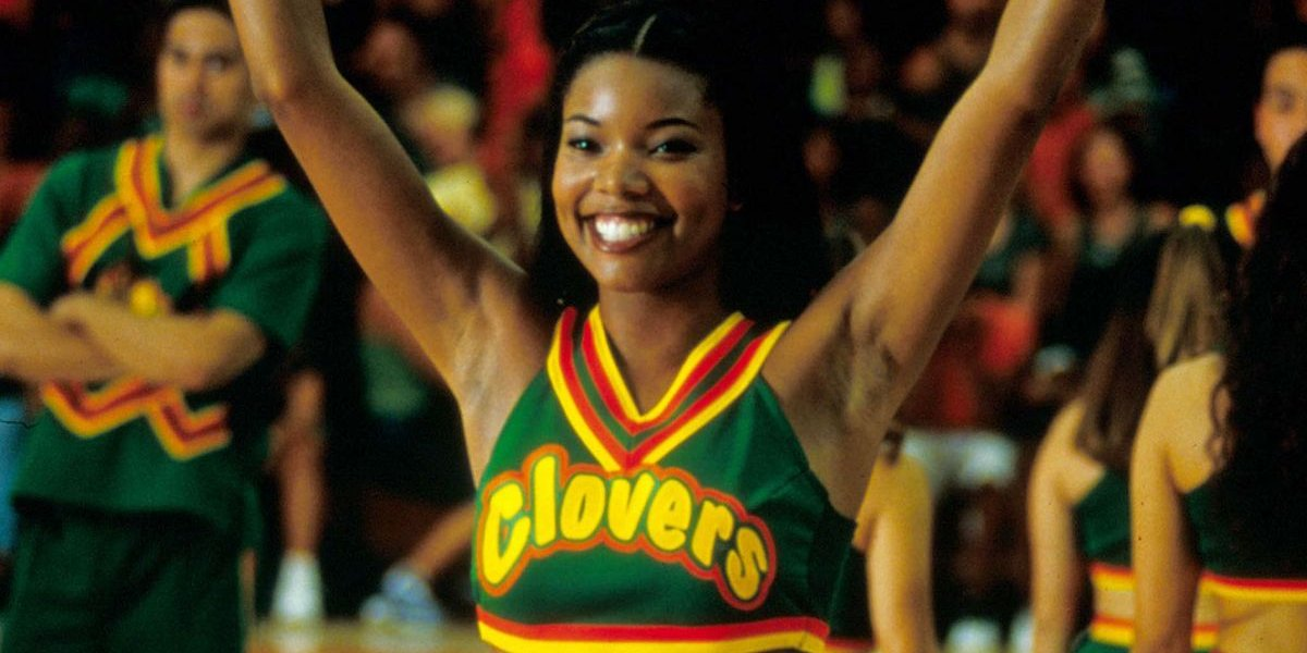 Bring It On Gabrielle Union-Wade throws her arms up for a cheer