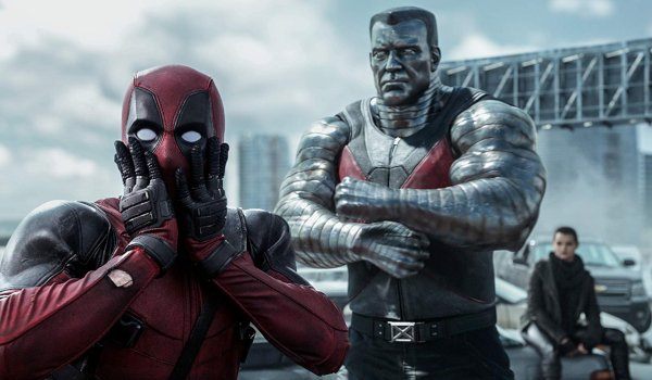 Deadpool shocked in front of Colossus and Negasonic Teenage Warhead on the bridge
