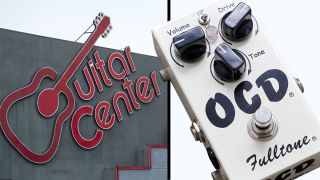 Guitar Center sign positioned next to a Fulltone OCD overdrive pedal
