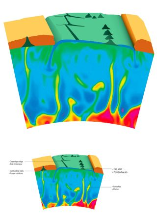 A schematic showing a mantle plume and a volcano hotspot