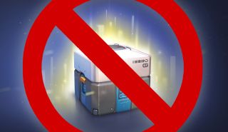"""An Overwatch loot box with a red """"banned"""" symbol"""