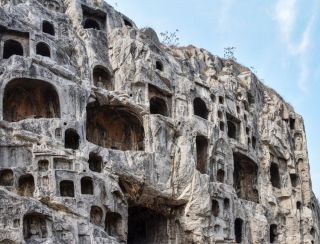 Silk proteins were found in tombs at Jiahu in the Henan Province in central China. Shown here, grottoes in Henan Province.