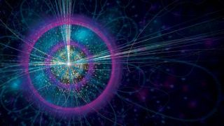 An abstract image of a high-energy collision creating a new particle such as the Higgs boson.
