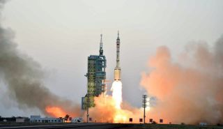 A Chinese Long March 2F rocket launches two astronauts into orbit aboard the Shenzhou-11 spacecraft from Jiuquan Satellite Launch Center on Oct. 17, 2016 (Beijing Time), kicking off a 30-day mission to the country's new Tiangong-2 space laboratory module