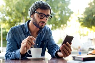 man, phone, coffee, creative, hipster