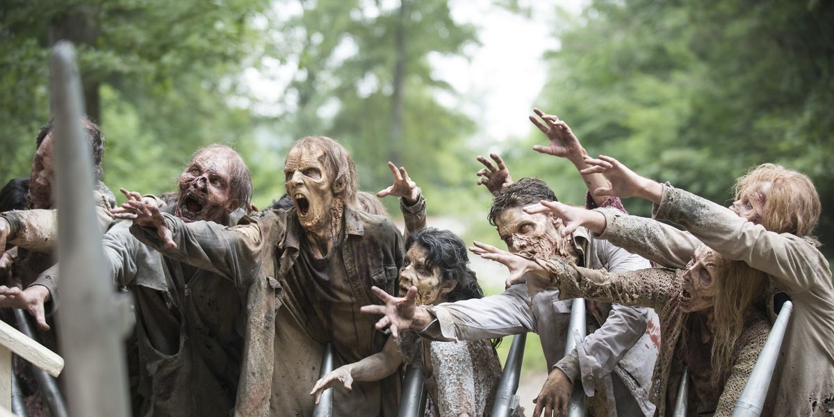 An example of a group of walkers in The Walking Dead.