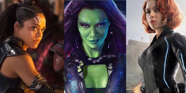 Valkyrie, Gamora, and Black Widow