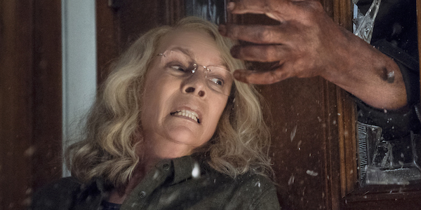 Jamie Lee Curtis Laurie Strode attacked by Michael Myers in Halloween 2018