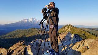 Nathaniel Young sets up his Syrp Genie Mini II slider at Mount Shasta, California