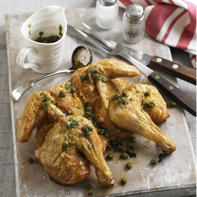 Spatchcock chicken with caper and oregano dressing recipe-recipe ideas-new recipes-woman and home