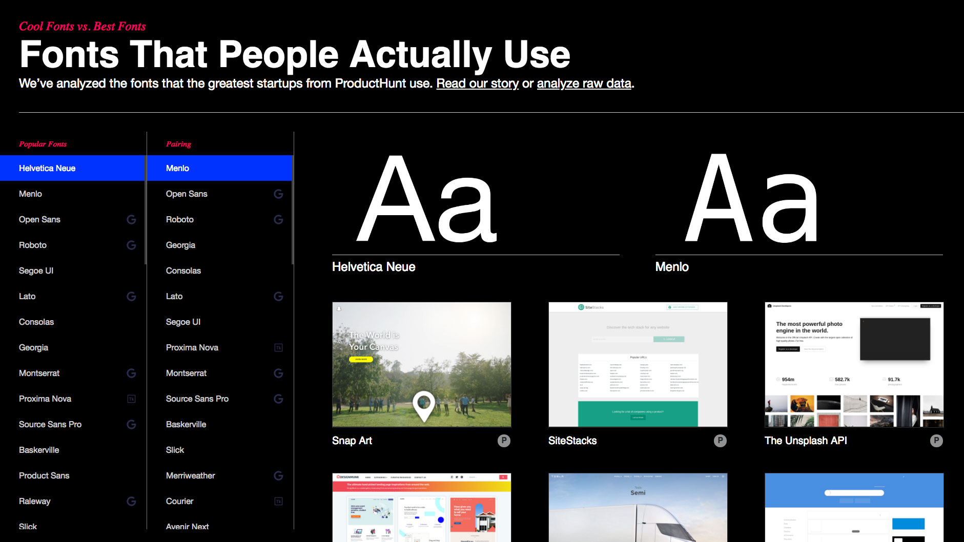 Study reveals most popular startup typefaces and pairings