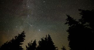 A 30-second exposure view of the 2021 Perseids from Spruce Knob, West Virginia, taken on Aug. 11, 2021..