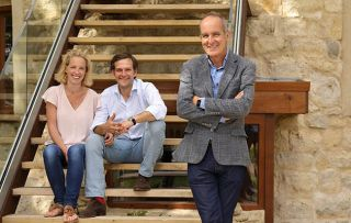 Grand Designs Kevin McCloud with Jaime and Mimi in the remodelled follly in Buckinghamshie