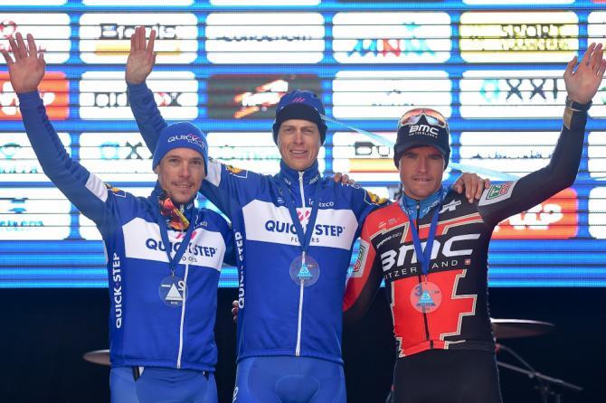 Philippe Gilbert, Niki Terpstra and Greg van Avermaet on the E3 Harelbeke podium
