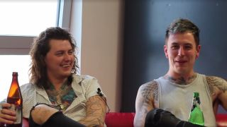 A still from the Asking Alexandria interview video
