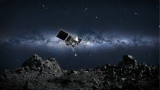 This artist's concept shows NASA's OSIRIS-REx spacecraft descending toward asteroid Bennu to collect a sample of the asteroid's surface.