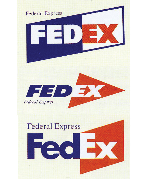 Three different early FedEx logo designs