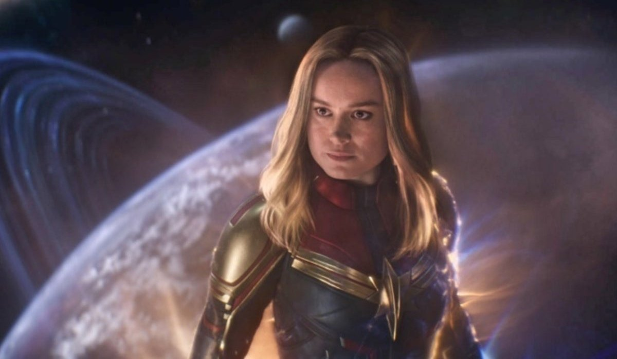 Captain Marvel hovering in space