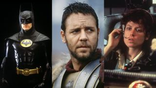 Michael Keaton in Batman, Russell Crowe in Gladiator, and Sigourney Weaver in Alien