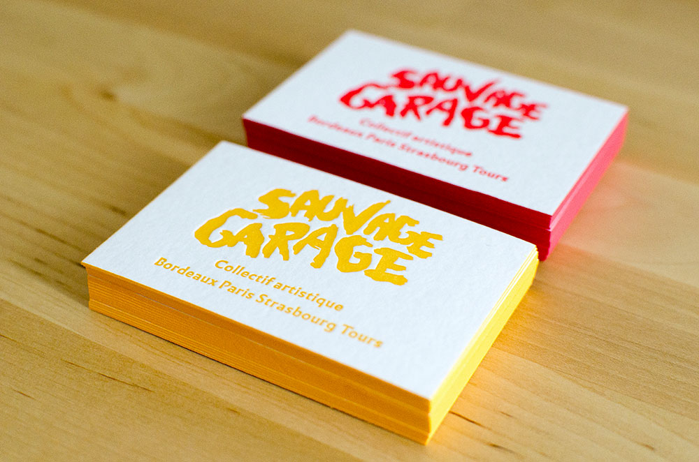 Sauvage Garage letterpress business cards