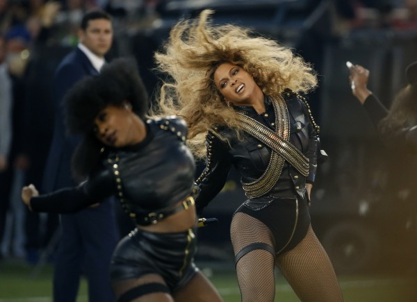 Beyonce performs during halftime of the NFL Super Bowl 50 football game in Santa Clara, Calif