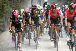 MONTALCINO ITALY MAY 19 Alberto Bettiol of Italy and Team EF Education Nippo Hugh Carthy of United Kingdom and Team EF Education Nippo Damiano Caruso of Italy and Team Bahrain Victorious during the 104th Giro dItalia 2021 Stage 12 a 162km stage from Perugia to Montalcino 554m Gravel Strokes Dust girodiitalia UCIworldtour Giro on May 19 2021 in Montalcino Italy Photo by Tim de WaeleGetty Images