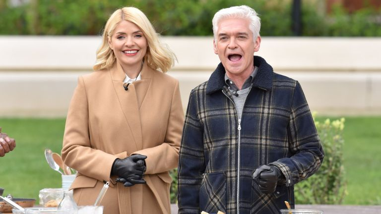 Phillip Schofield and Holly Willoughby film a segment for This Morning