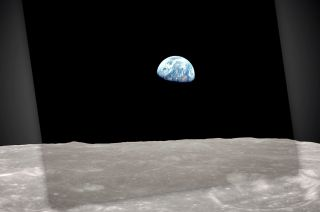 """Earthrise,"" as photographed by the Apollo 8 crew on Christmas Eve 1968, laid over NASA's 2013 recreation using Lunar Reconnaissance Orbiter (LRO) data. CREDIT: NASA/GSFC"